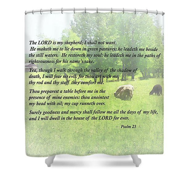 Psalm 23 The Lord Is My Shepherd Shower Curtain