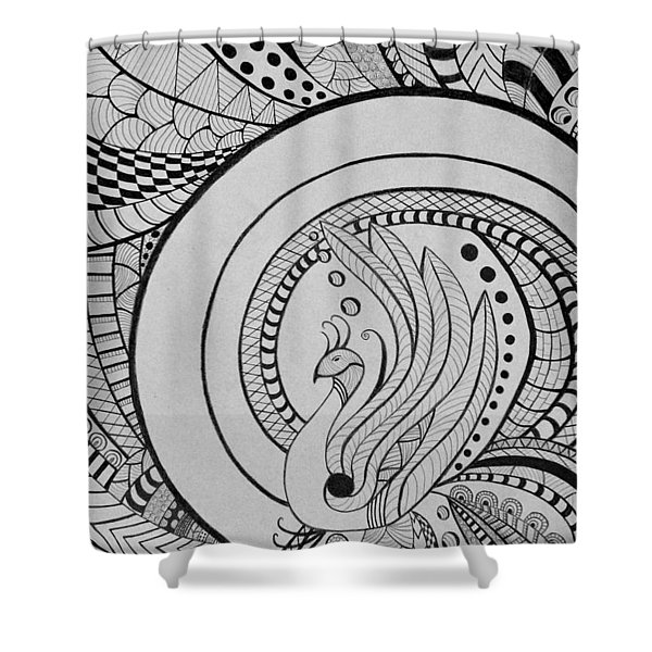 Zentangle Peacock Art Drawing Shower Curtain
