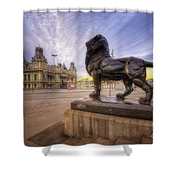 Puerto De Barcelona Sunrise Shower Curtain