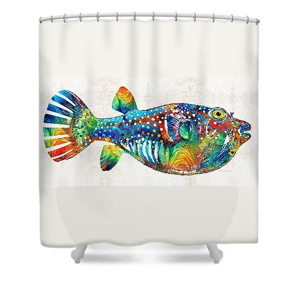 Puffer Fish Art - Blow Puff - By Sharon Cummings Shower Curtain