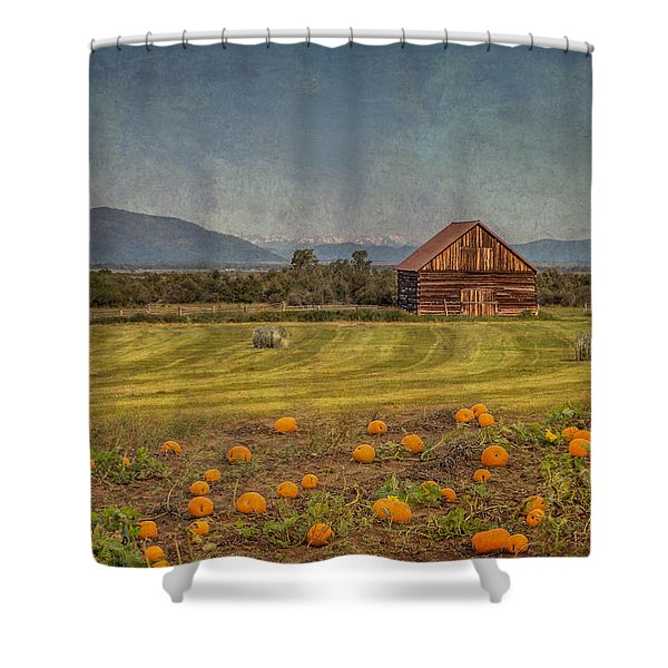 Pumpkin Field Moon Shack Shower Curtain