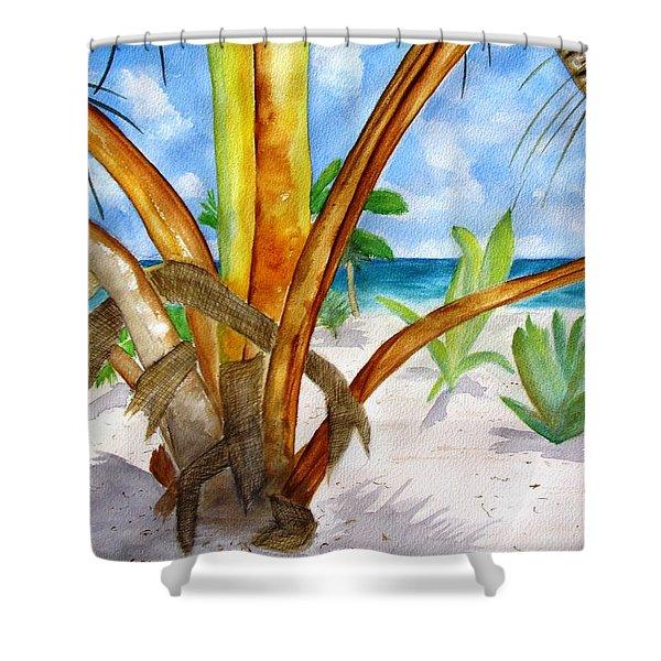 Punta Cana Beach Palm Shower Curtain