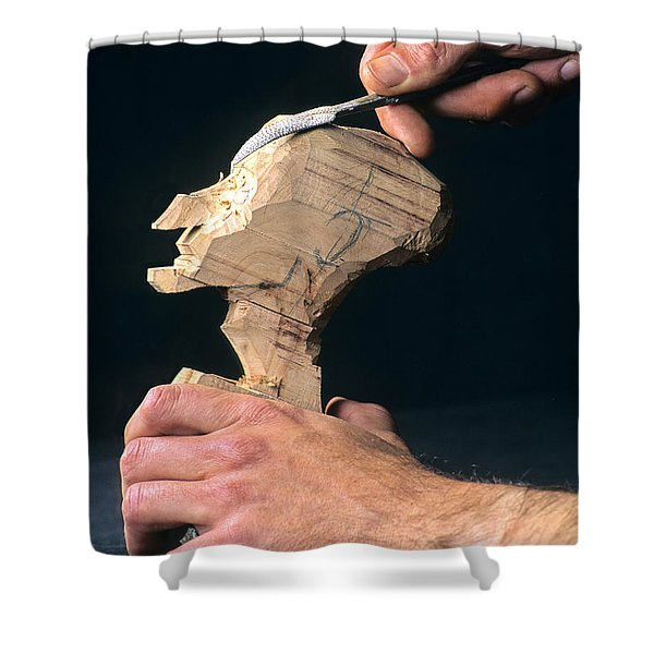 Puppet Being Carved From Wood Shower Curtain