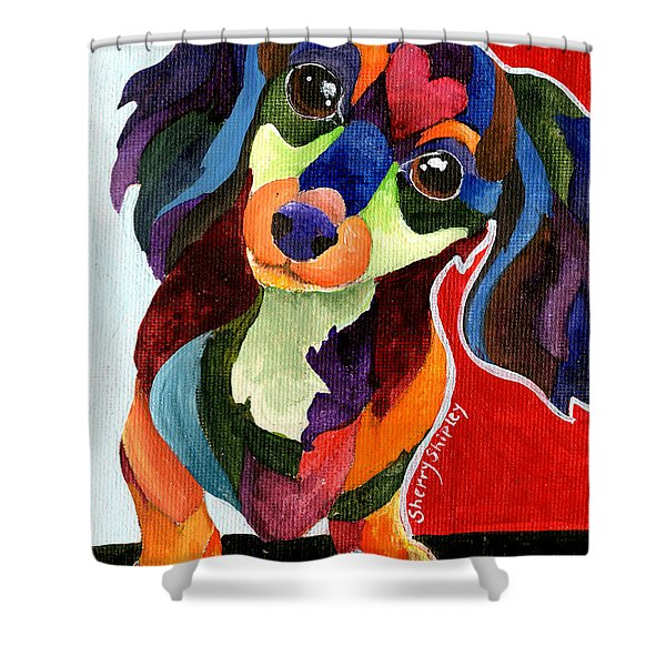 Puppy Love Long Haired Dachshund Shower Curtain