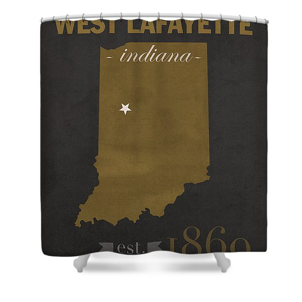 Purdue University Boilermakers West Lafayette Indiana College Town State Map Poster Series No 090 Shower Curtain