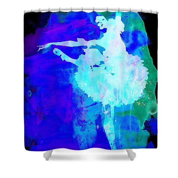Purple Ballerina Watercolor Shower Curtain