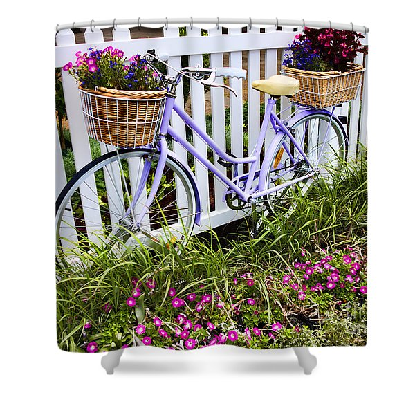 Purple Bicycle And Flowers Shower Curtain