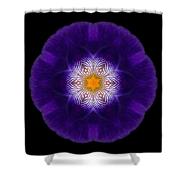 Purple Iris II Flower Mandala Shower Curtain