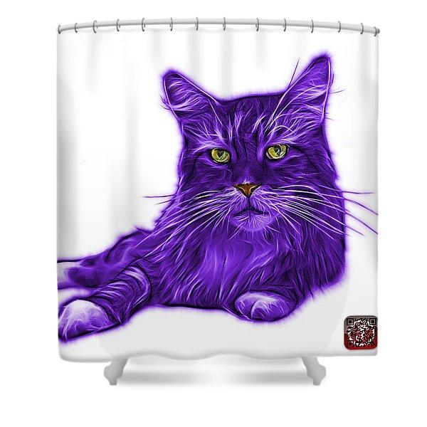 Purple Maine Coon Cat - 3926 - Wb Shower Curtain