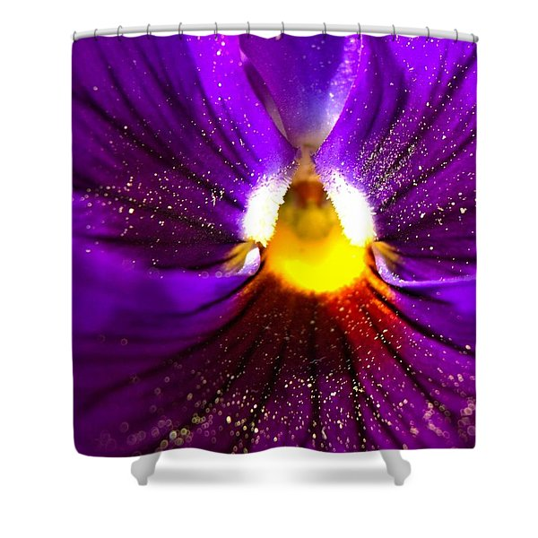 Purple Pansy Detail Shower Curtain