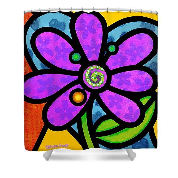 Purple Pinwheel Daisy Shower Curtain