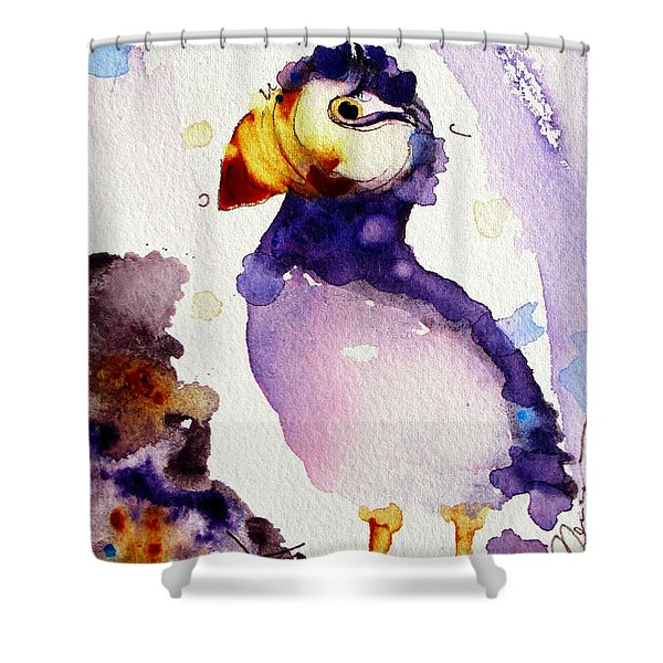 Purple Puffin Shower Curtain
