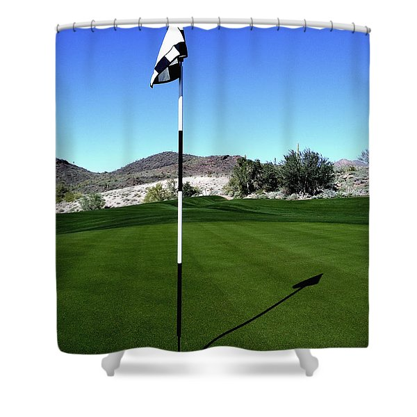 Putting Green And Flag On Golf Course Shower Curtain