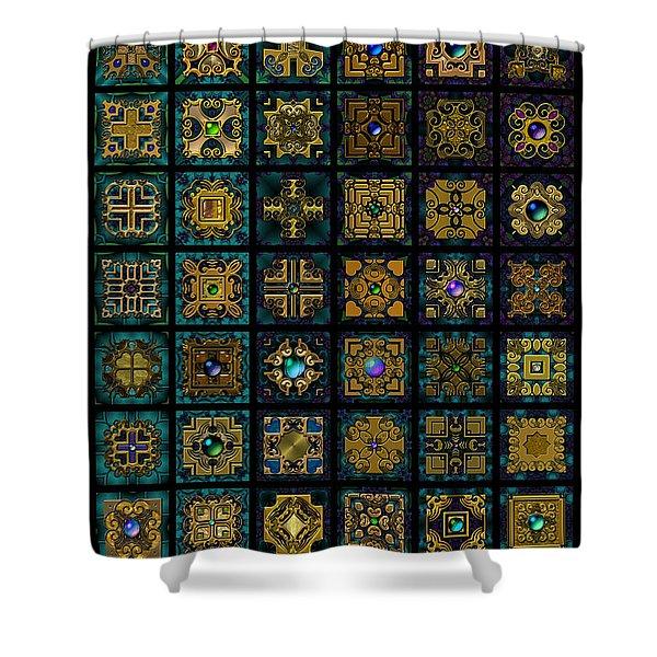 Quadtiles One Dingbat Quilt Shower Curtain