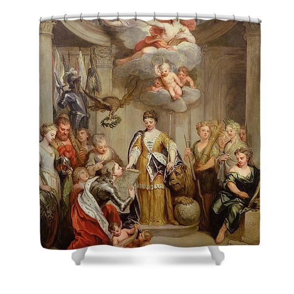 Queen Anne Presenting Plans Of Blenheim To Military Merit Oil On Canvas Shower Curtain