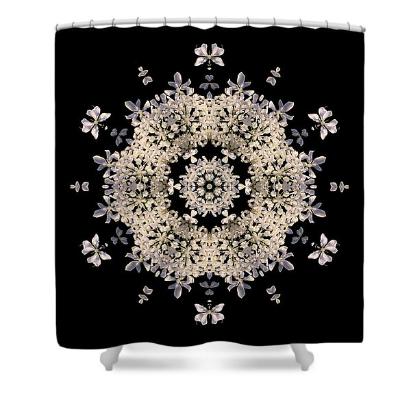 Queen Anne's Lace Flower Mandala Shower Curtain