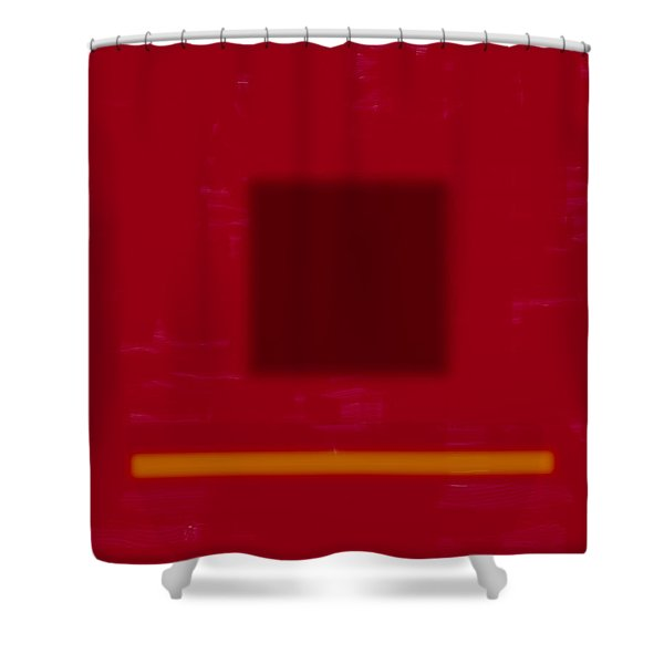 Color Field With Dark Square Shower Curtain