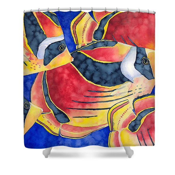 Raccoon Butterflyfish Shower Curtain