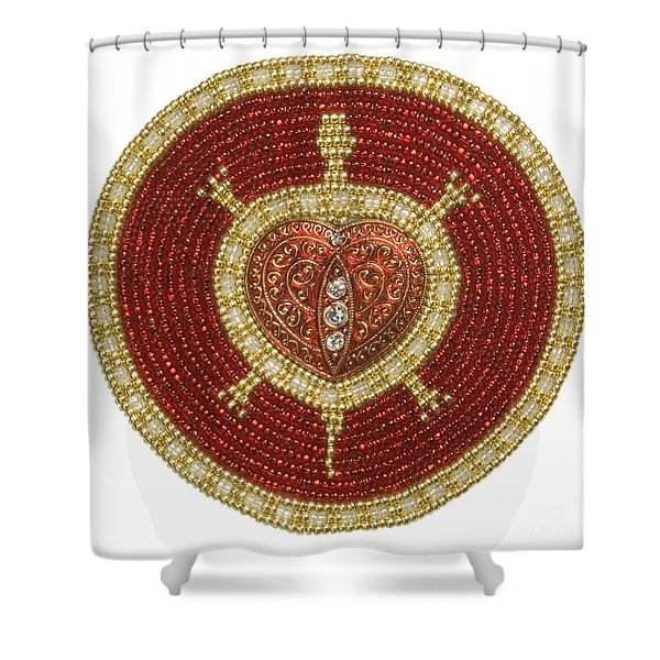 Red Heart Turtle Shower Curtain