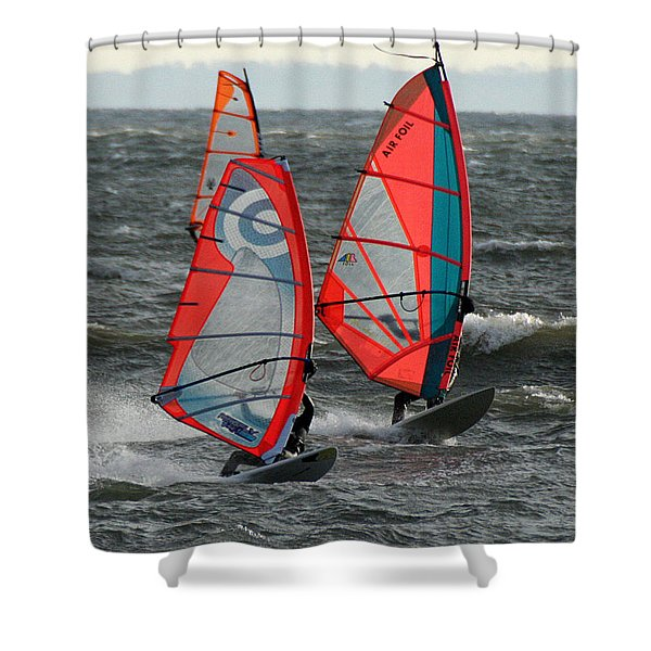 Racing With Wind Shower Curtain