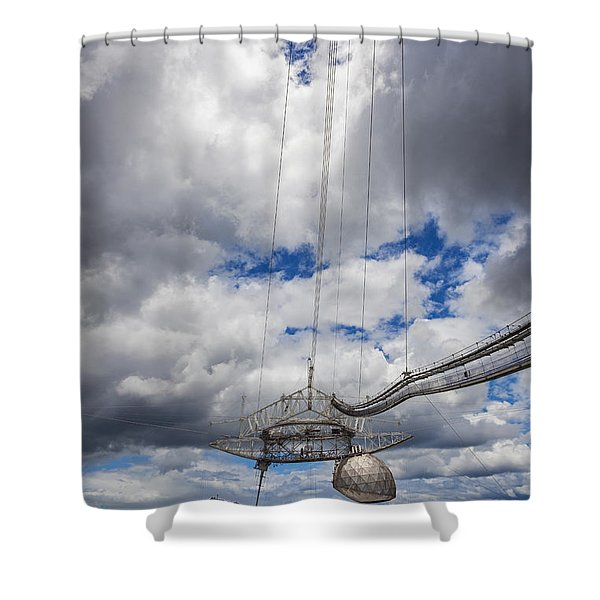 Shower Curtain featuring the photograph Radio Telescope At Arecibo Observatory In Puerto Rico by Bryan Mullennix