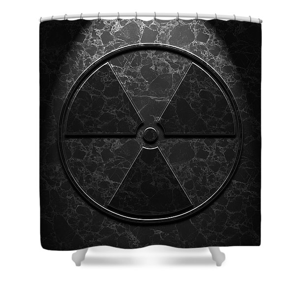 Radioactive Symbol Black Marble Texture Shower Curtain