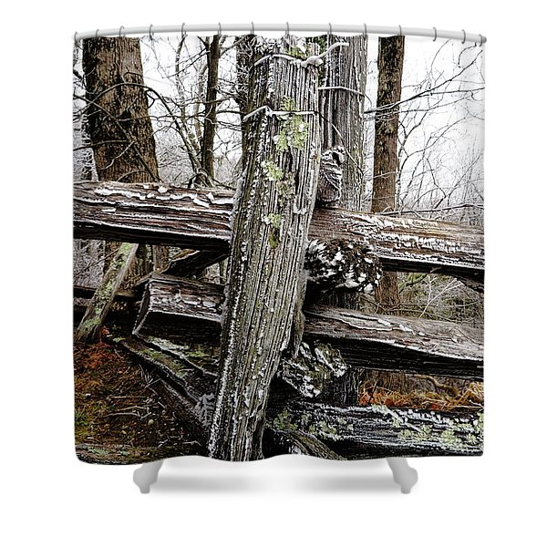 Rail Fence With Ice Shower Curtain