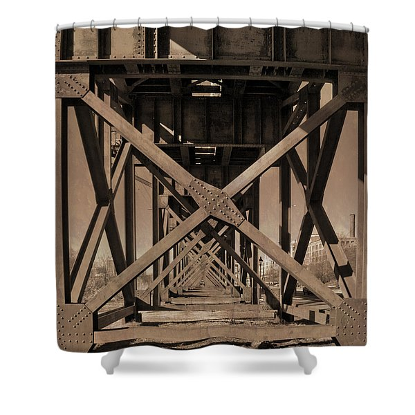 Shower Curtain featuring the photograph Railroad Trestle Sepia by Jemmy Archer