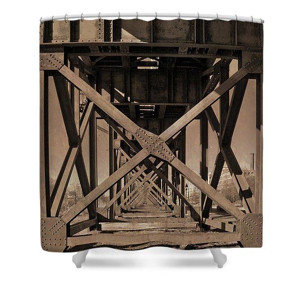 Railroad Trestle Sepia Shower Curtain