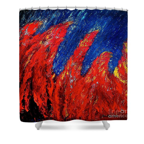 Rain On Fire Shower Curtain