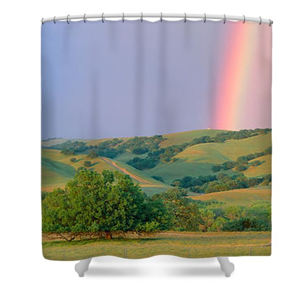 Rainbow And Rolling Hills In Central Shower Curtain