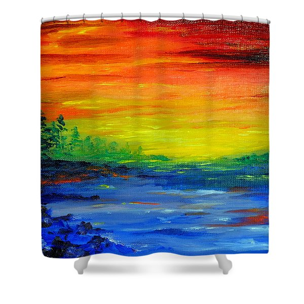 Rainbow Back Waters Shower Curtain