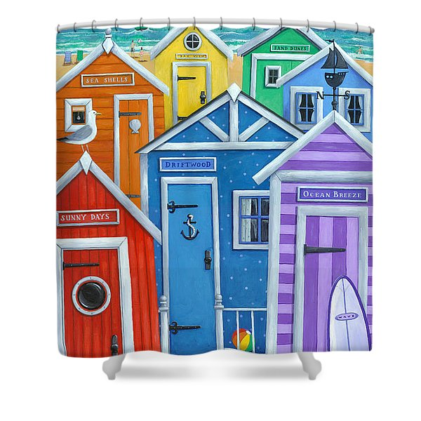 Rainbow Beach Huts Shower Curtain