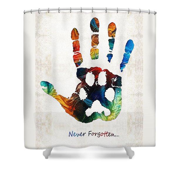 Rainbow Bridge Art - Never Forgotten - By Sharon Cummings Shower Curtain