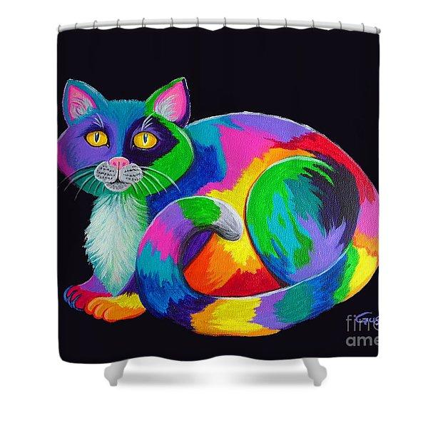 Rainbow Calico Shower Curtain