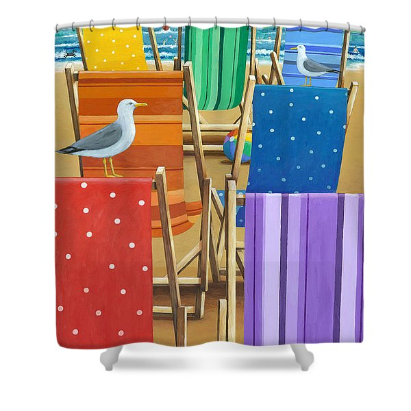 Rainbow Deckchairs Shower Curtain