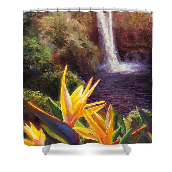 Rainbow Falls Big Island Hawaii Waterfall  Shower Curtain