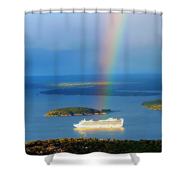 Rainbow On The Ship In Acadia National Park Maine Shower Curtain
