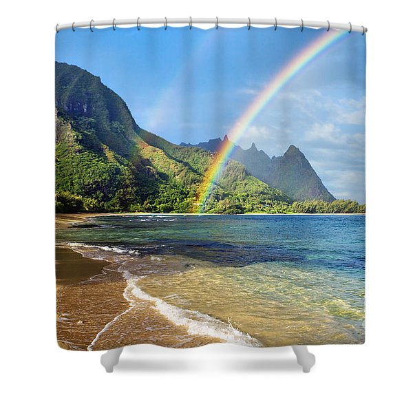 Rainbow Over Haena Beach Shower Curtain