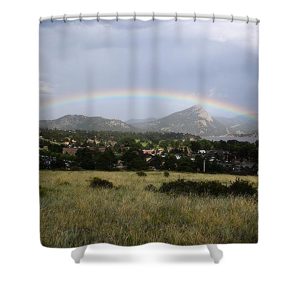 Rainbow Over Lake Estes Shower Curtain