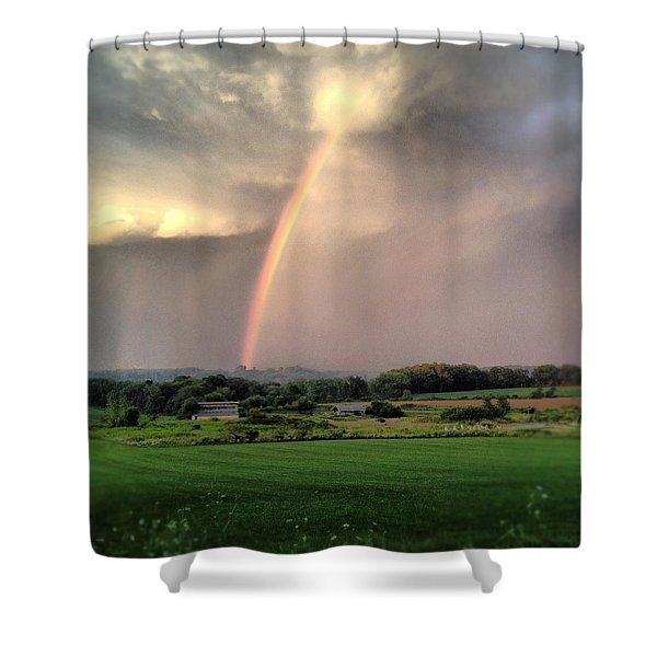 Rainbow Poured Down Shower Curtain