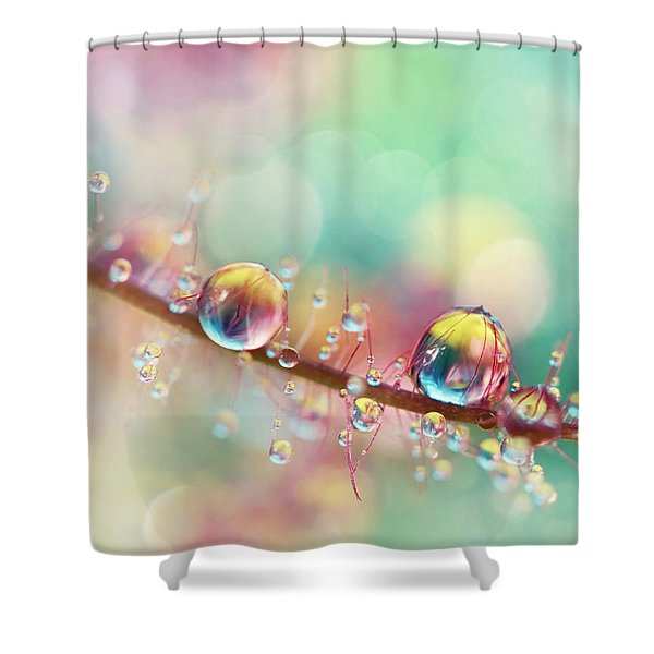 Rainbow Smoke Drops Shower Curtain