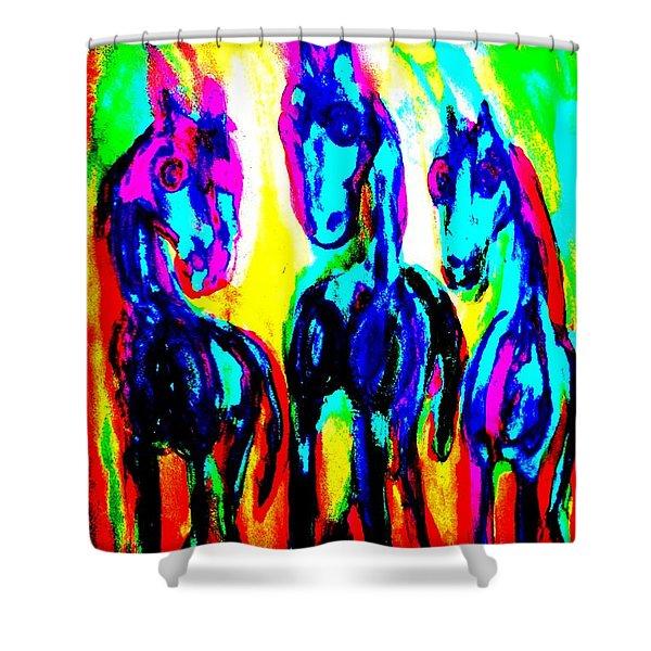 The Rainbow Stallions Don't Wanna Be Race Horses  Shower Curtain
