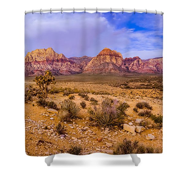 Rainbow Wilderness Panorama At Red Rock Canyon Before Sunrise - Las Vegas Nevada Shower Curtain