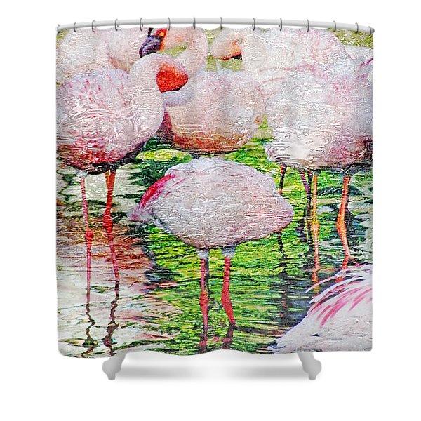 Rainy Day Flamingos 2 Shower Curtain