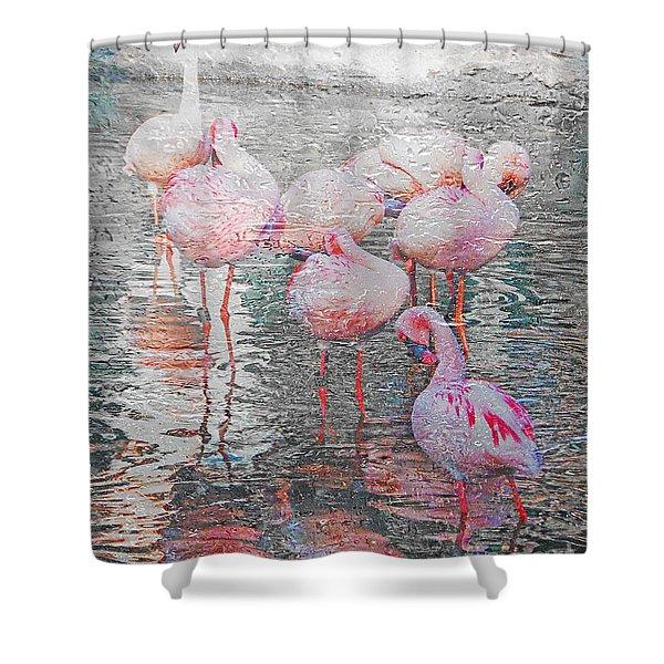 Rainy Day Flamingos Shower Curtain
