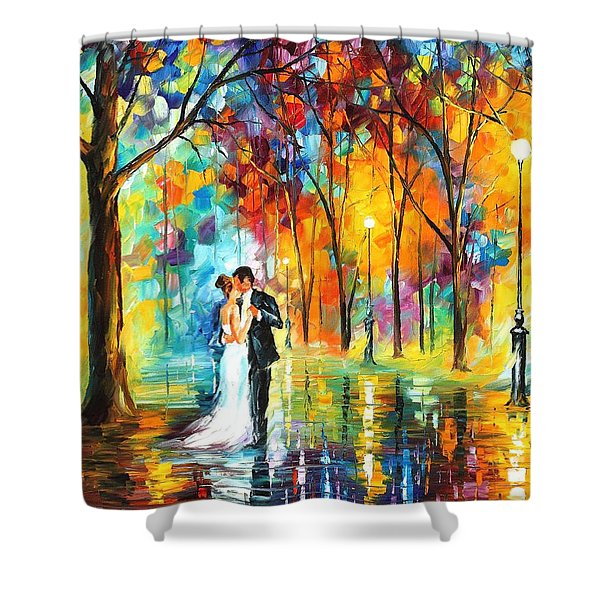 Rainy Wedding - Palette Knife Oil Painting On Canvas By Leonid Afremov Shower Curtain