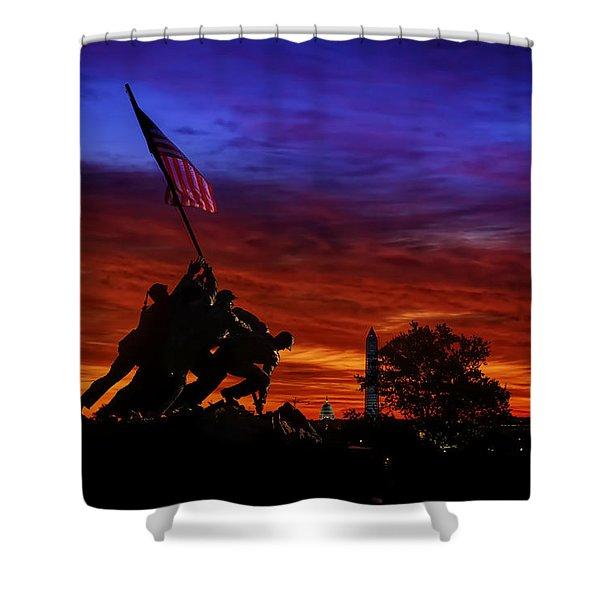 Raising The Flag Shower Curtain
