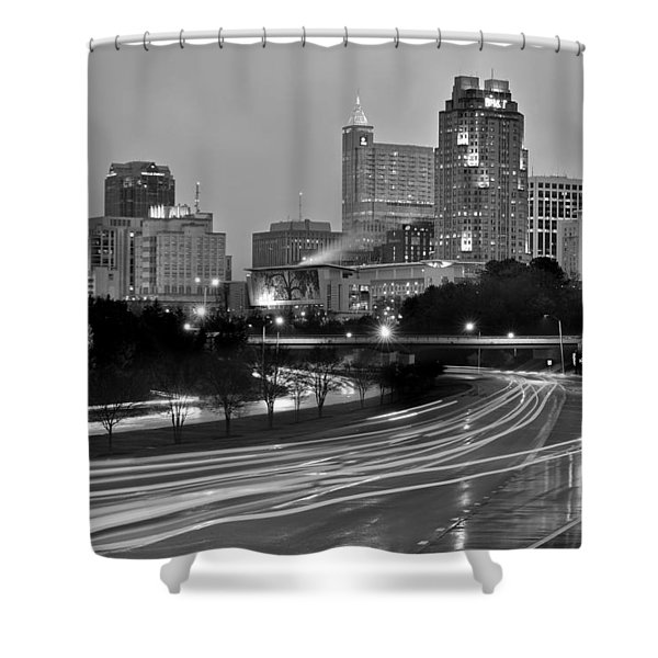 Raleigh Skyline At Dusk Evening Black And White Bw Evening Panorama North Carolina Nc Shower Curtain