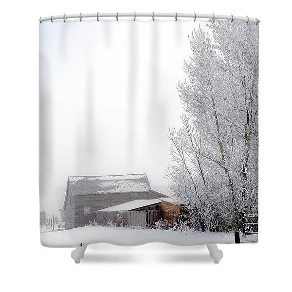 Ranch In Frozen Fog Shower Curtain